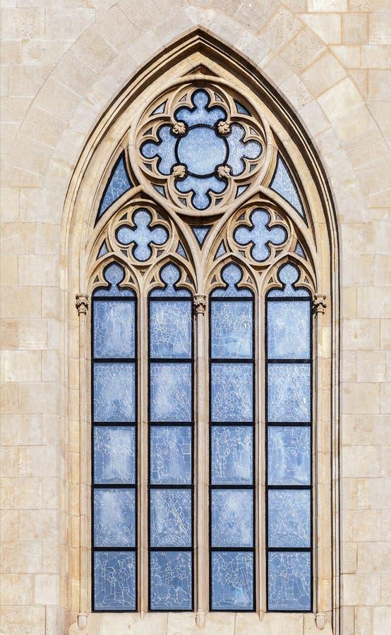 Venster van een Gotische kathedraal stock foto's