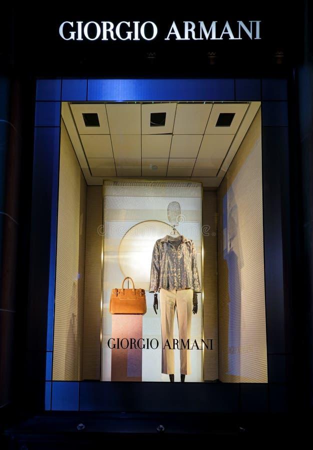 Venster van Giorgio Armani Sydney stock afbeeldingen