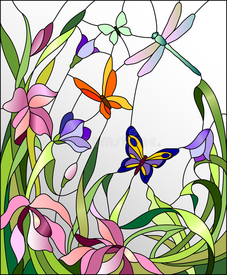 Venster 6 van het gebrandschilderd glas stock illustratie