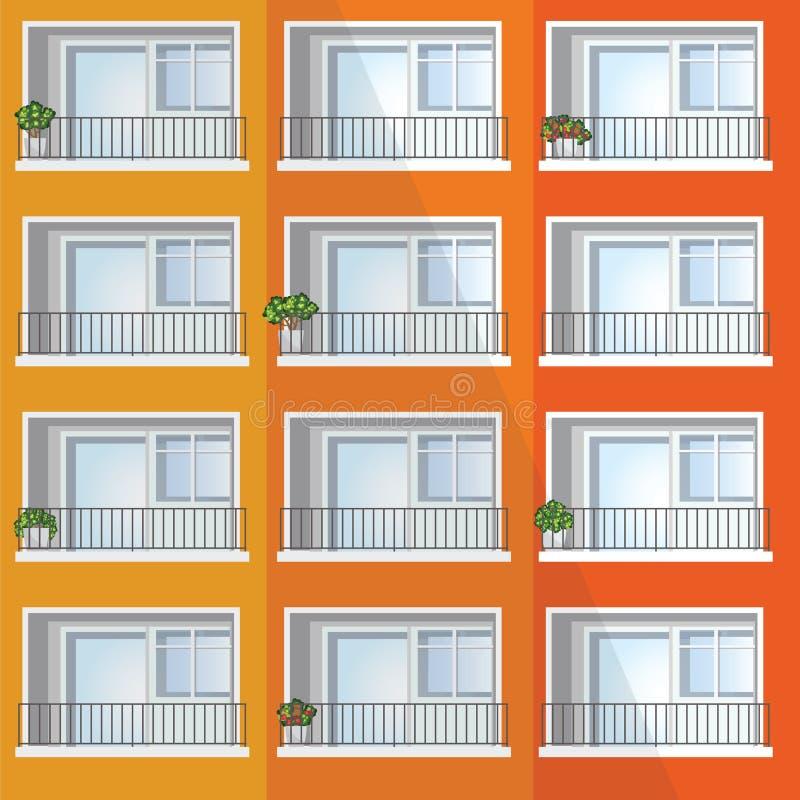 Venster van kleurrijk flatgebouw royalty-vrije illustratie