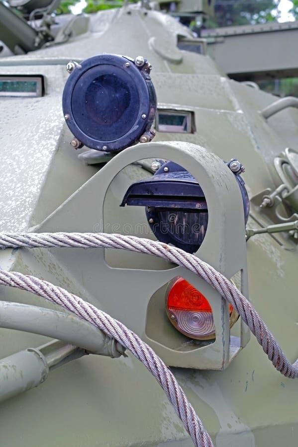 Venster voor het bekijken in een beschermend schild op patrouillevoertuig stock foto's