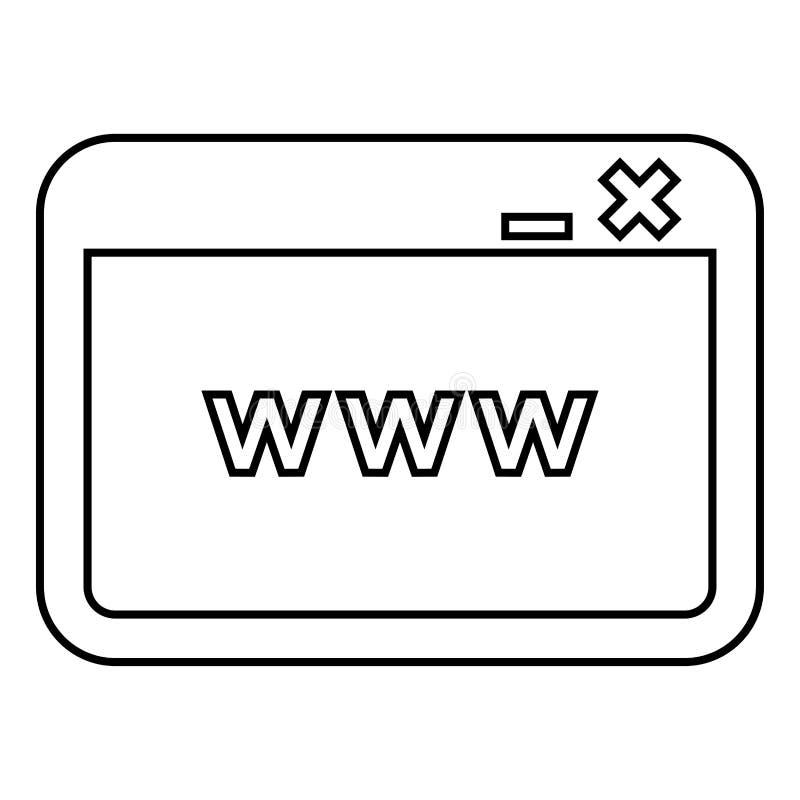 Vensterbrowser Internet of Web-pagina van de de illustratie vlakke stijl van de pictogram het zwarte kleur eenvoudige beeld stock illustratie