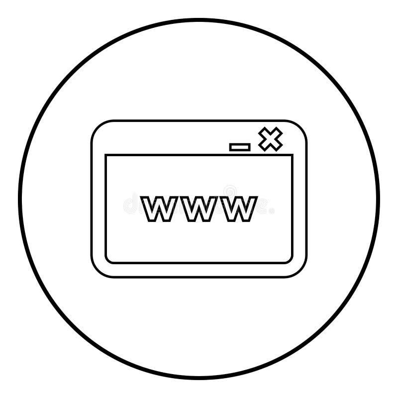 Vensterbrowser Internet of Web-pagina vector de illustratie eenvoudig beeld van de pictogram zwart kleur royalty-vrije illustratie