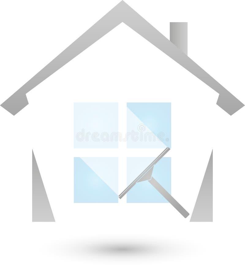 Vensterreinigingsmachine en huis, het schoonmaken en schoonmakend bedrijfembleem stock illustratie