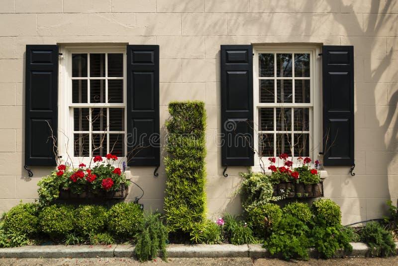 Vensters en van vensterdozen de versieringen van plantersvertoningen verbeteren architectuur royalty-vrije stock afbeelding
