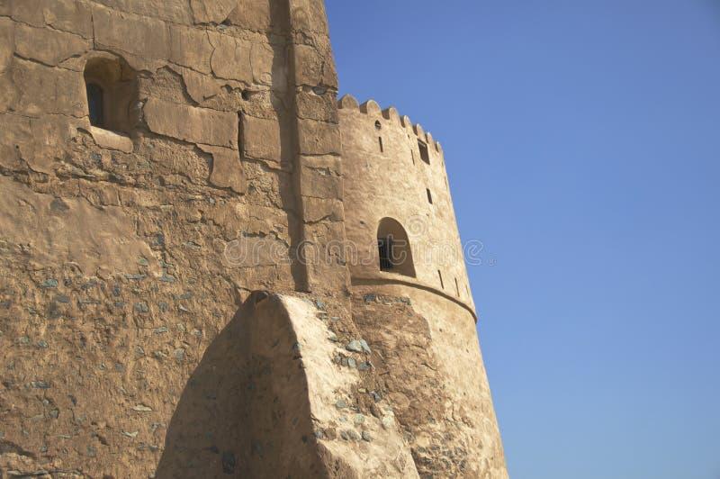 Vensters in Muur van het Fort van Fujairah royalty-vrije stock afbeelding