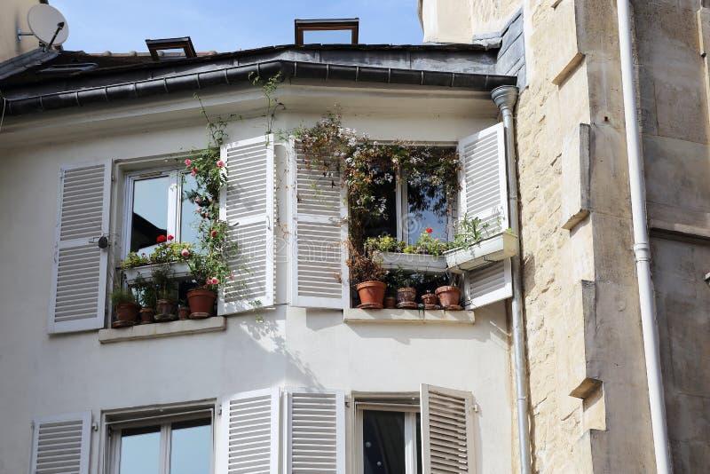 Vensters van de oude Parijse huizen stock foto's