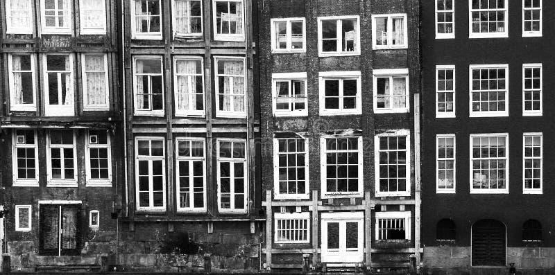 Vensters van een gebouw in Amsterdam stock fotografie