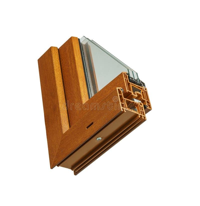 Vensterssectie met drievoudige verglazing en houten kader, het concept van de huisvernieuwing royalty-vrije stock fotografie