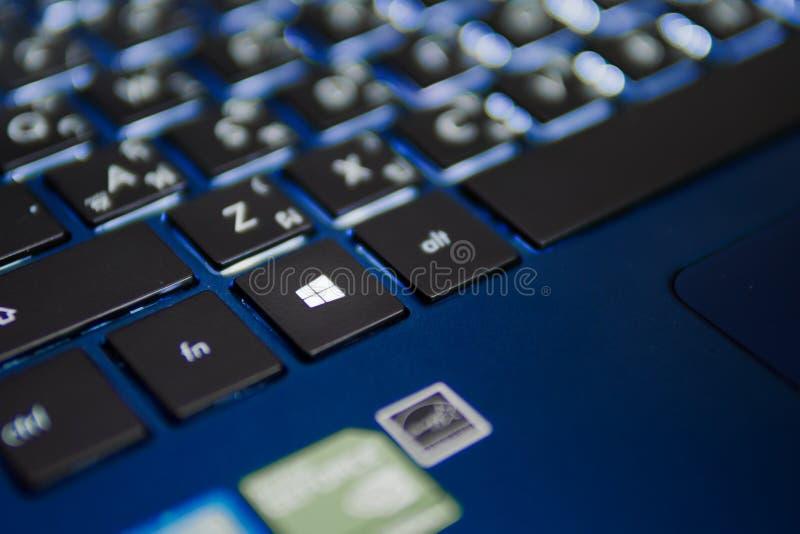 Vensterssleutel op Microsoft Windows-toetsenbord stock foto