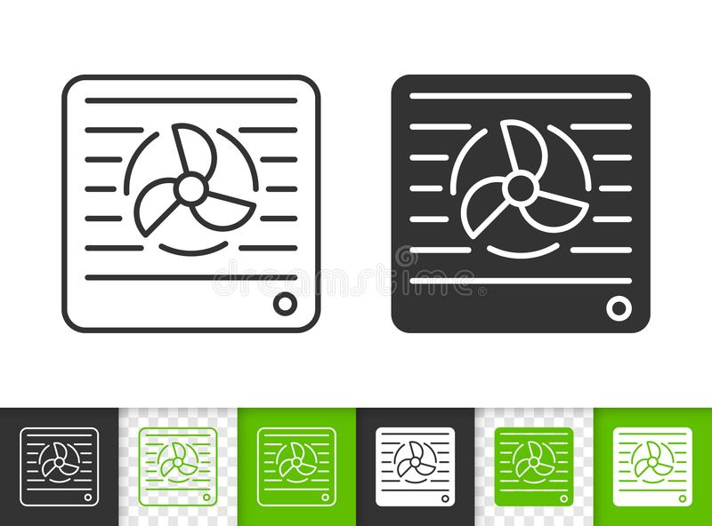 Vent simple black line vector icon. Vent black linear and silhouette icons. Thin line sign of duct. Ventilator outline pictogram isolated on white, green vector illustration