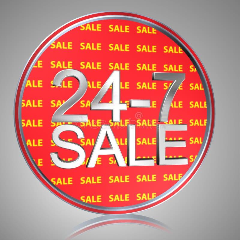 24-7 venta ilustración del vector