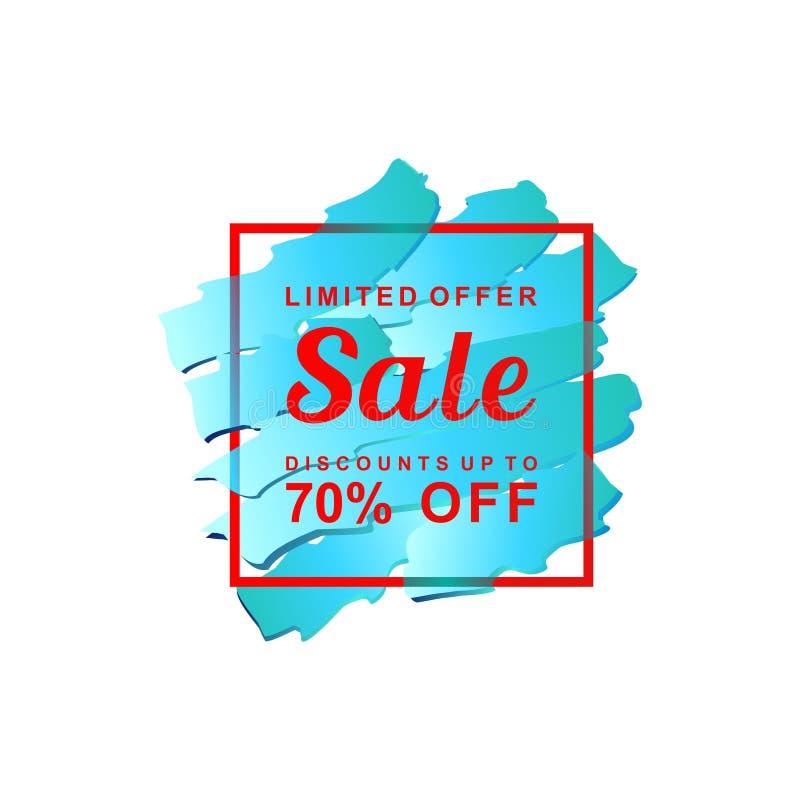 Venta abstracta azul, oferta limitada, descuentos, el 70% apagado, bandera de la promoción de venta ilustración del vector