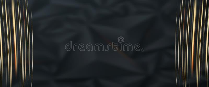 Venta, banderas del promo, diseño de oro en un fondo oscuro, venta caliente, descuentos Bandera, tarjeta, espacio de la copia Maq ilustración del vector
