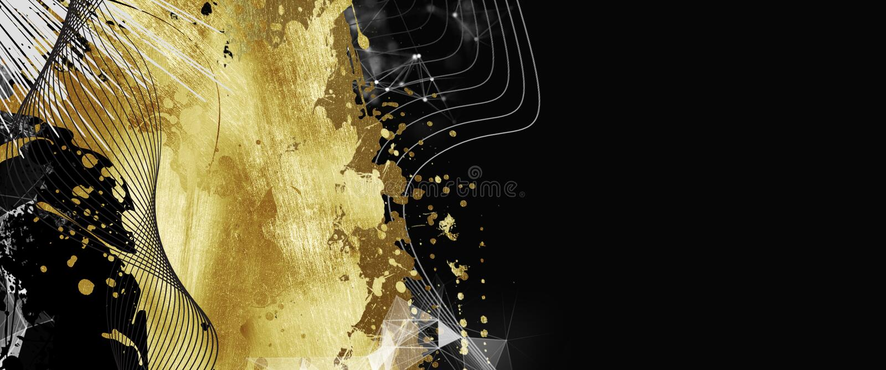 Venta, banderas del promo, diseño de oro en un fondo oscuro, venta caliente, descuentos Bandera, tarjeta, espacio de la copia Maq libre illustration