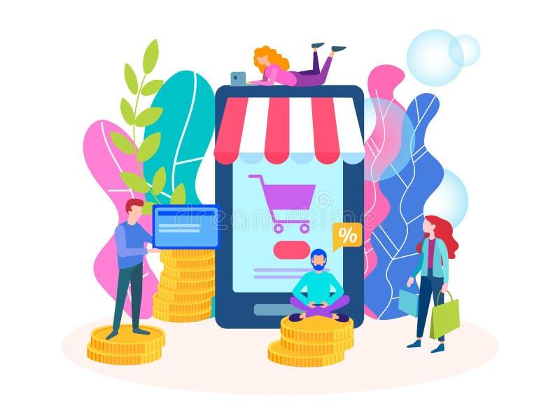 Venta caliente en la aplicación móvil de la tienda en línea stock de ilustración