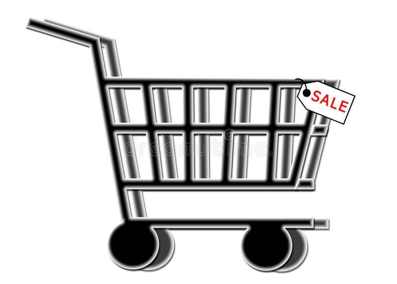 VENTA - carro de compras con la etiqueta de la venta libre illustration