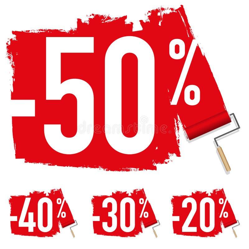 Venta con una muestra del descuento del 50% ilustración del vector