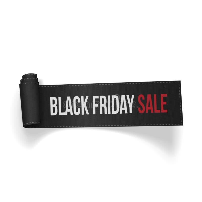 Venta curvada realista de Black Friday de la cinta de la materia textil stock de ilustración