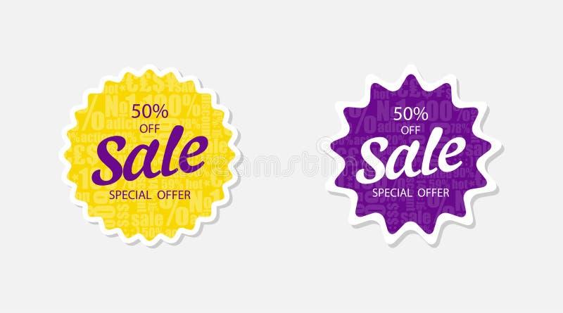 Venta de dos etiquetas engomadas 50 apagado Oferta especial Banderas de la venta en el color violeta y amarillo Etiquetas y etiqu ilustración del vector