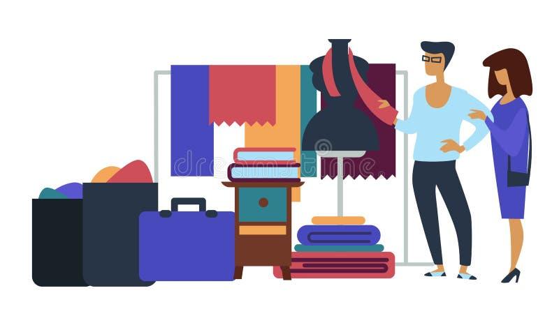 Venta de garaje de los muebles y de las maletas de la materia textil ilustración del vector