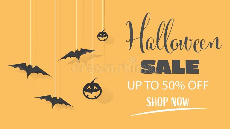 Venta de Halloween Oferta especial banner para compras de vacaciones, Diseño de plantillas de promoción. Ilustración del vector stock de ilustración