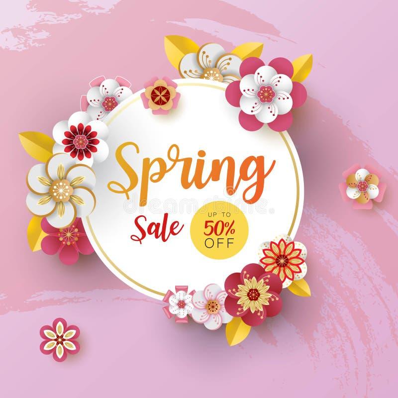 Venta de la bandera de la primavera Con la hoja y las flores coloridas diseñe Estilo cortado de papel del arte en fondo púrpura P libre illustration