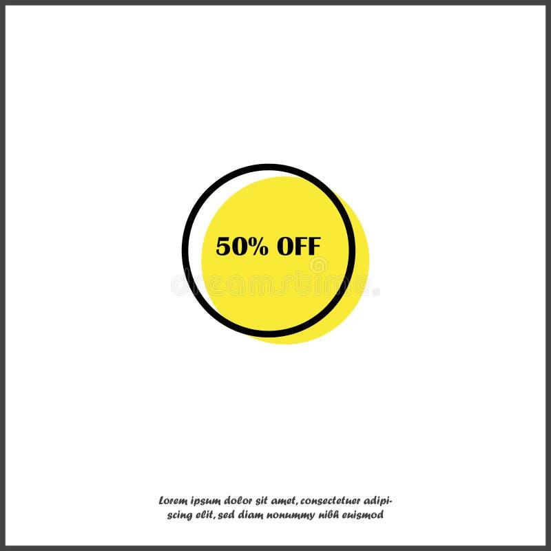 Venta de la etiqueta el 50% del vector en el fondo aislado blanco libre illustration