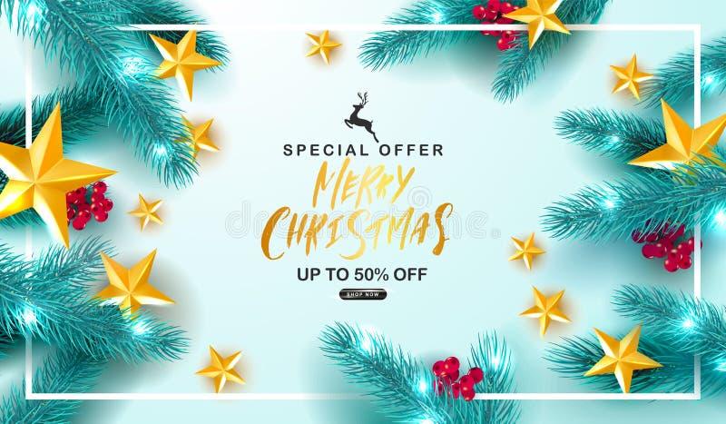 Venta de la Feliz Navidad Fondo universal del vector con las ramas, el serbal, las estrellas y la serpentina del abeto Convenient libre illustration