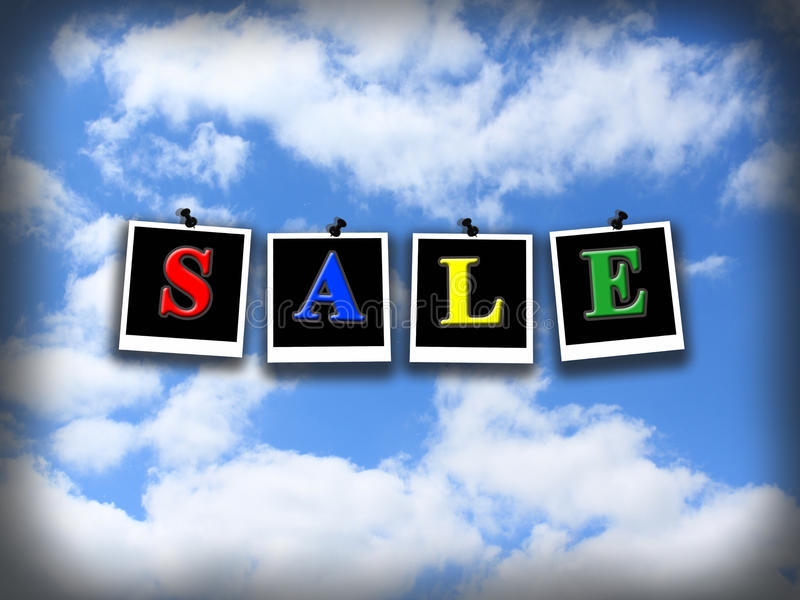 Download Venta De La Inscripción En El Cielo Nublado Azul Foto de archivo - Imagen de compras, nadie: 44853670