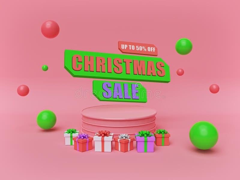 Venta de la Navidad cartel de la publicidad del día de fiesta, bandera representaci?n 3d stock de ilustración