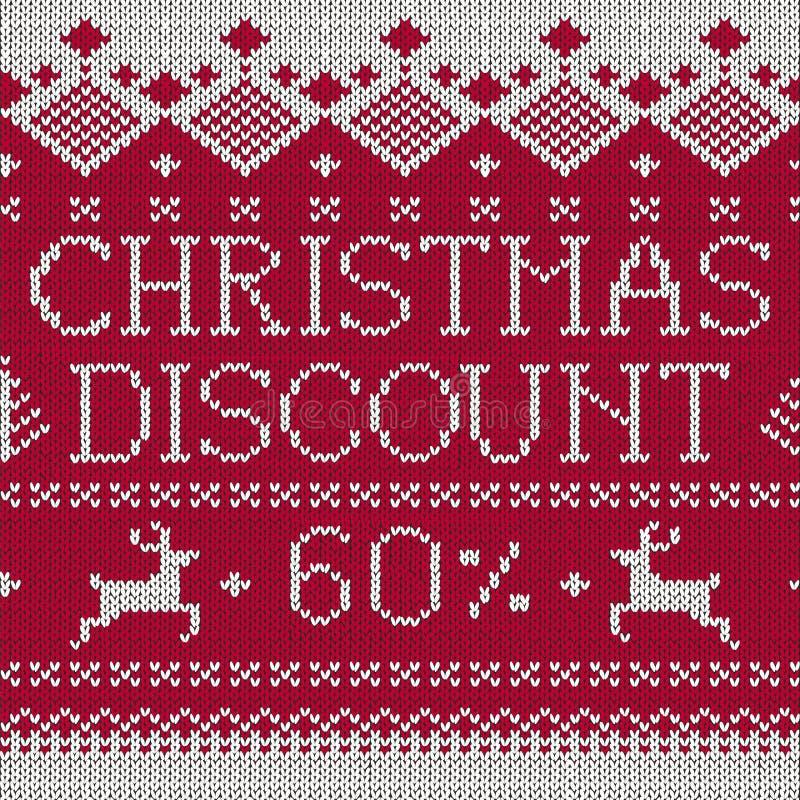 Venta de la Navidad: Descuento el 60% (knitte inconsútil del estilo escandinavo stock de ilustración