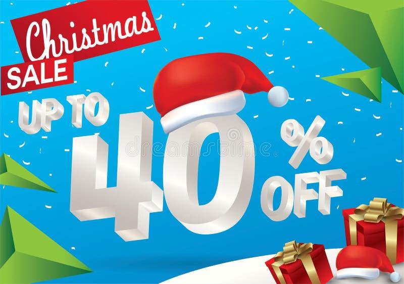 Venta de la Navidad el 40 por ciento Fondo de la venta del invierno con el texto del hielo 3d con la bandera y la nieve de Papá N stock de ilustración