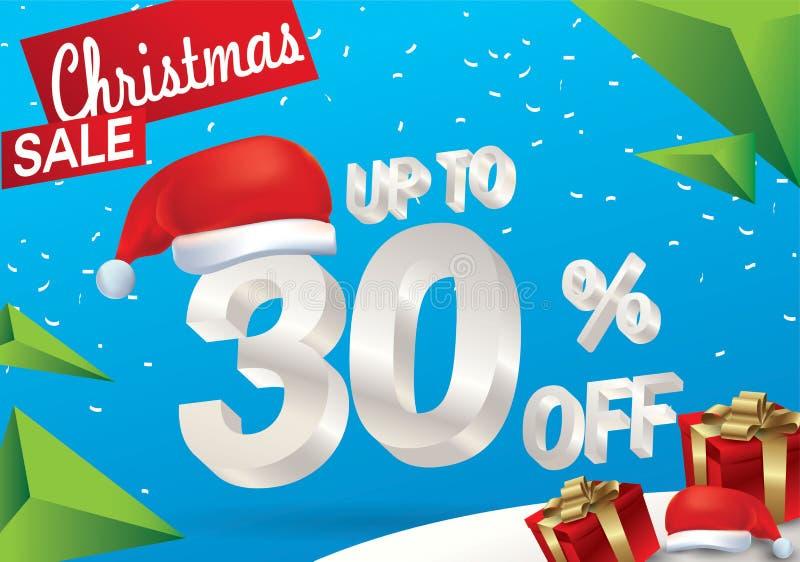 Venta de la Navidad el 30 por ciento Fondo de la venta del invierno con el texto del hielo 3d con la bandera y la nieve de Papá N libre illustration