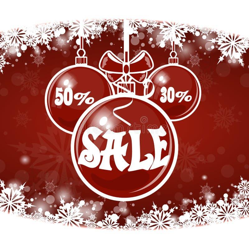 Venta de la Navidad en fondo rojo Feliz Navidad ilustración del vector