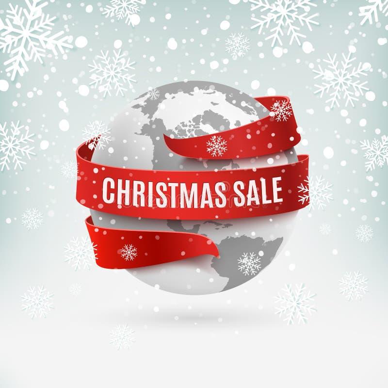 Venta de la Navidad, icono de la tierra con la cinta roja alrededor, en fondo del invierno ilustración del vector
