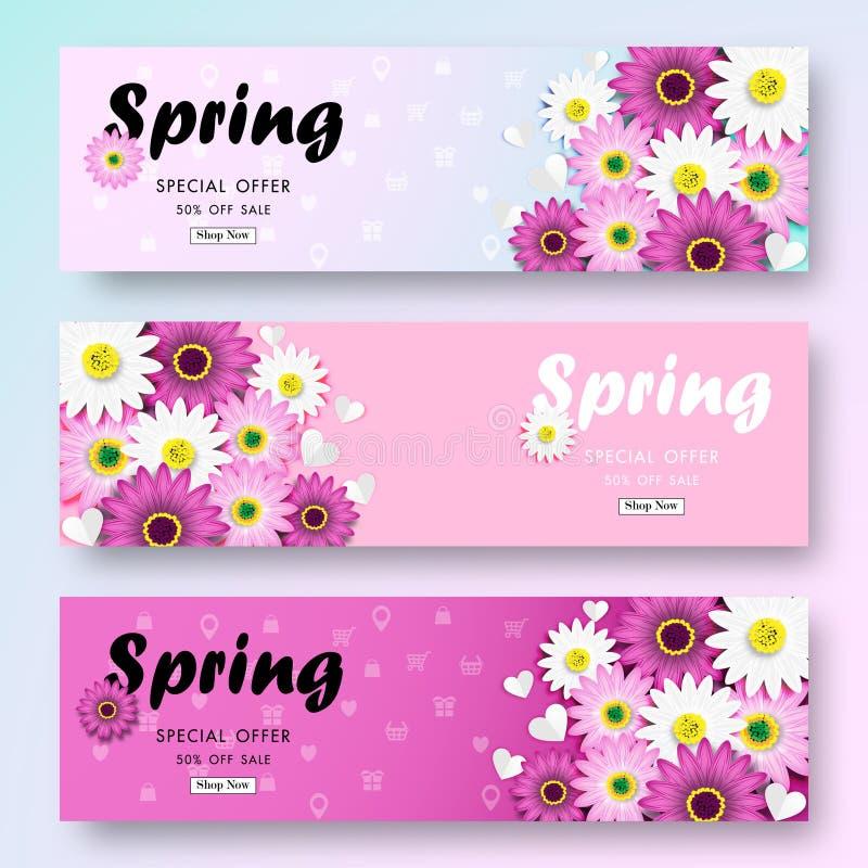 Venta de la primavera del fondo con Daisy Flower Blossom Design Vector colorida ilustración del vector