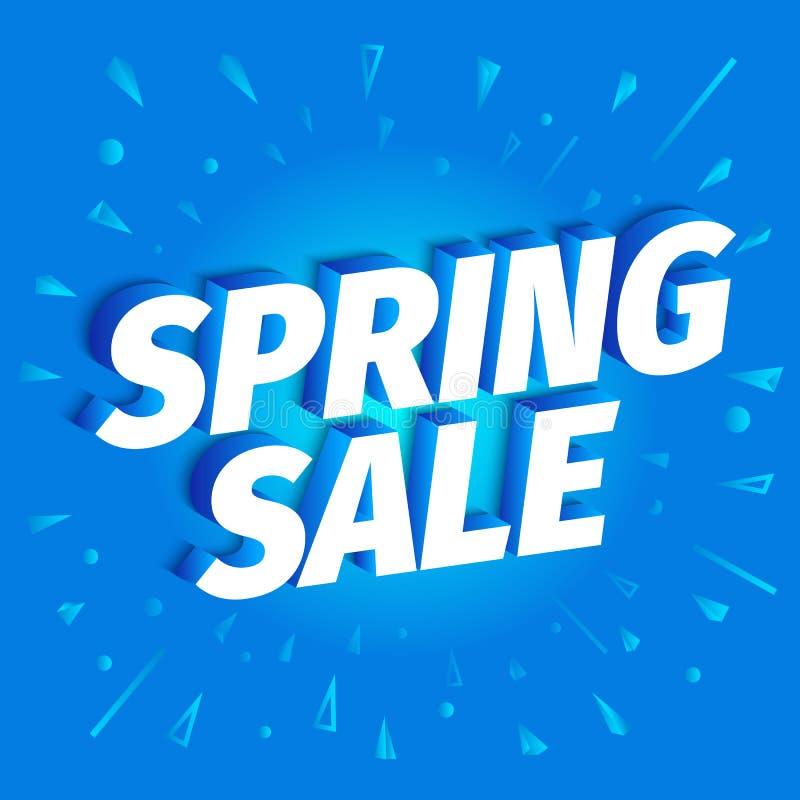 Venta de la primavera Descuentos estacionales letras 3d en un fondo azul Tiempo de la estaci?n de primavera Publicidad del cartel ilustración del vector