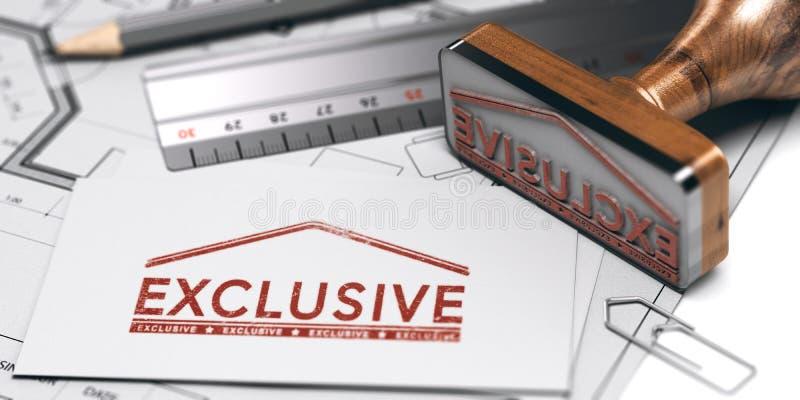 Venta de la propiedad exclusiva Concepto real de la agencia inmobiliaria libre illustration