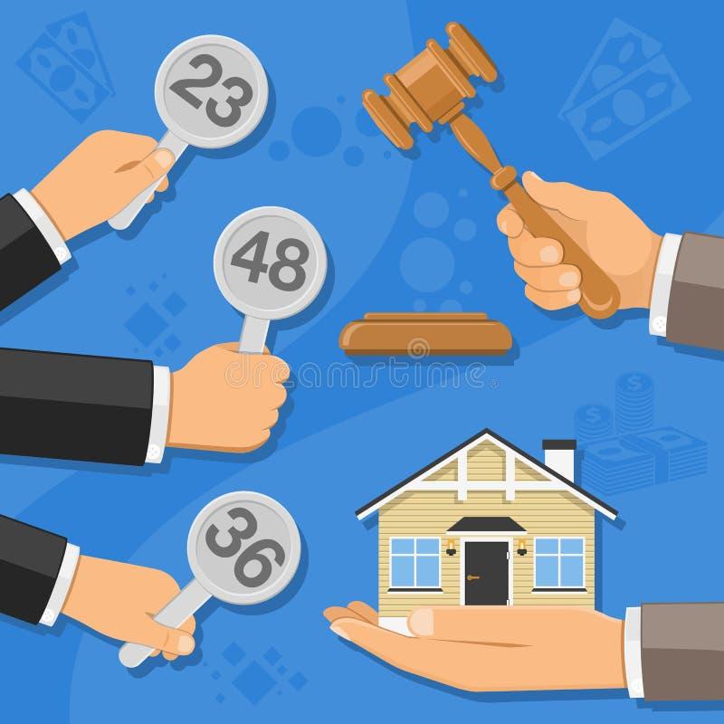 Venta de las propiedades inmobiliarias en la subasta stock de ilustración