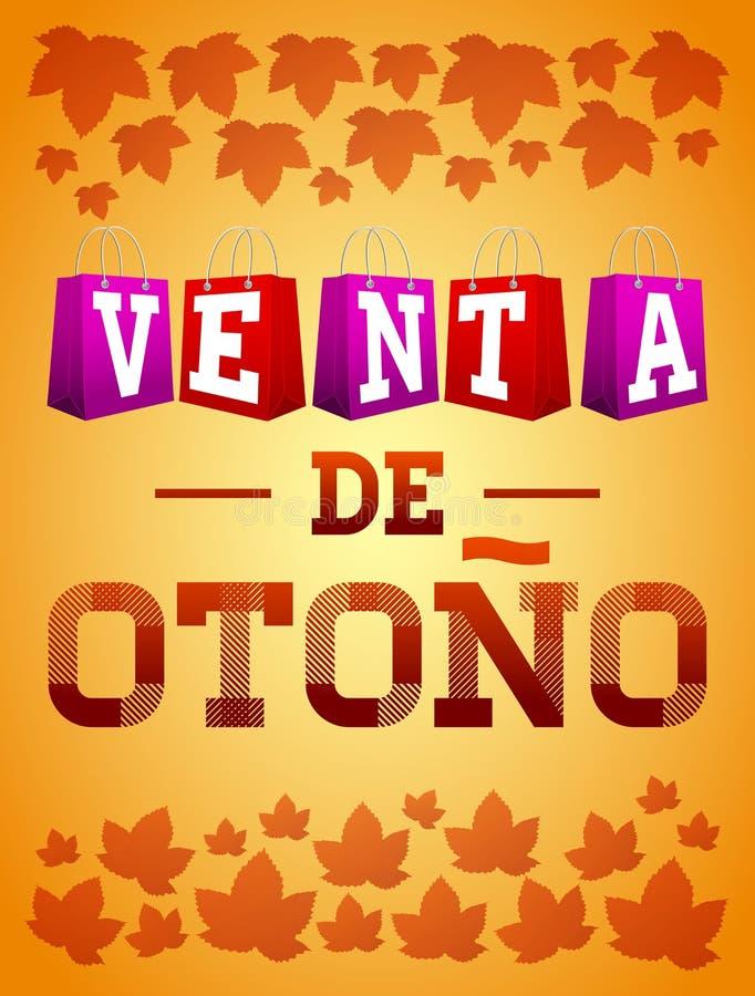Venta DE otono - affiche van de de tekst vectortypografie van de de Herfstverkoop de Spaanse vector illustratie