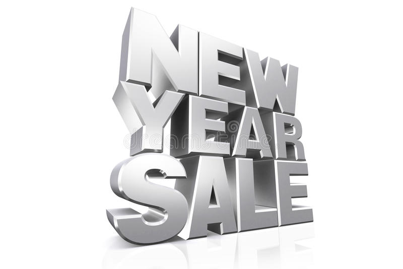 venta del Año Nuevo del texto de la plata 3D libre illustration