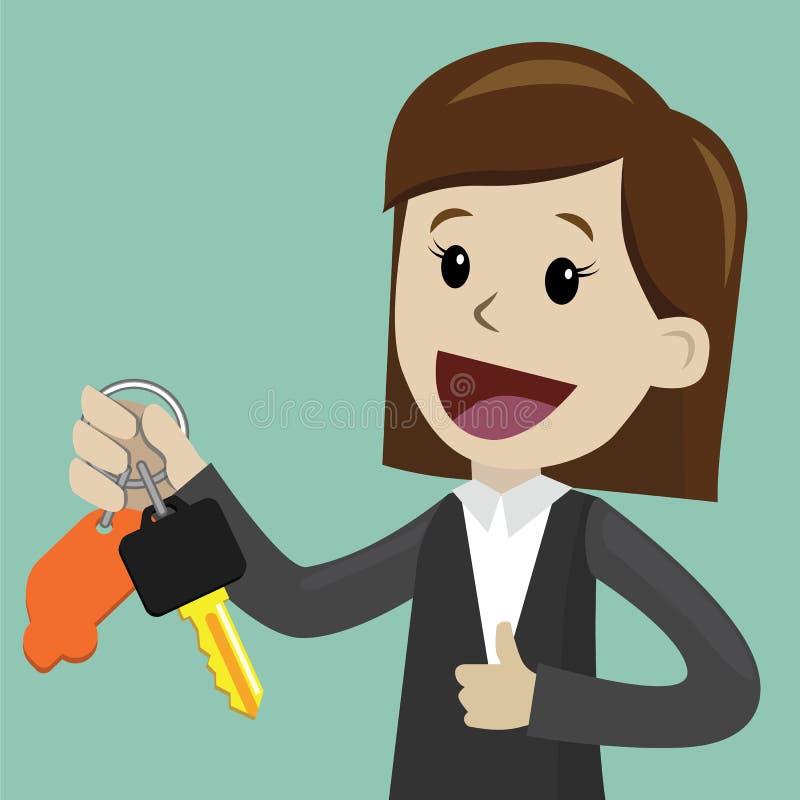 Venta del coche La empresaria o el encargado está llevando a cabo una llave de un nuevo coche Feliz, sonrisa Ejemplo de la histor stock de ilustración