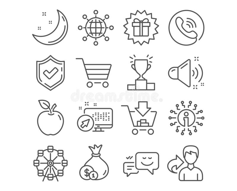 Venta del efectivo, del mercado e iconos del regalo de la sorpresa El globo internacional, el sonido ruidoso y el podio del ganad ilustración del vector