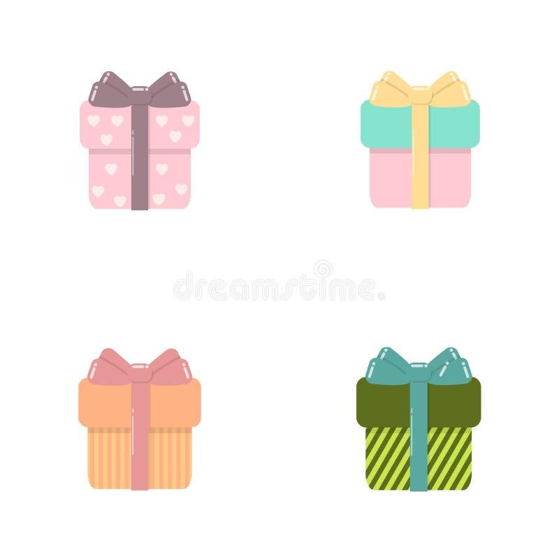 Venta del ejemplo del vector del sistema de las cajas de regalo, compras, cumpleaños, concepto de la Navidad para el diseño gráfi stock de ilustración