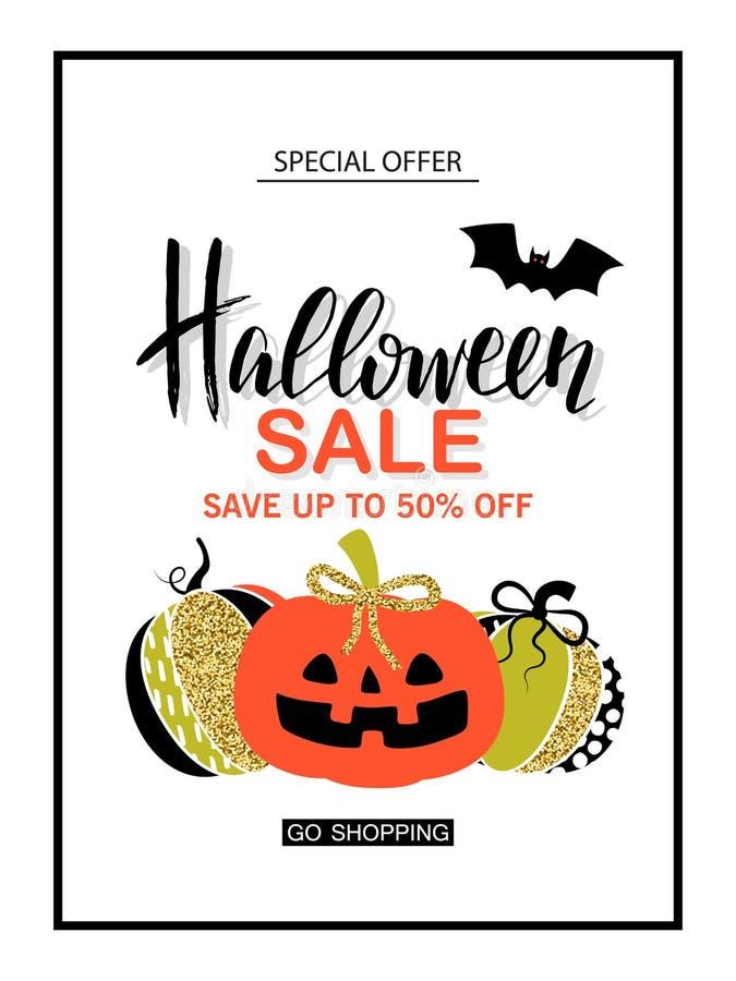 Venta del feliz Halloween Cartel con la calabaza chispeante atractiva linda Ilustración del vector Diseño para las tarjetas de fe libre illustration