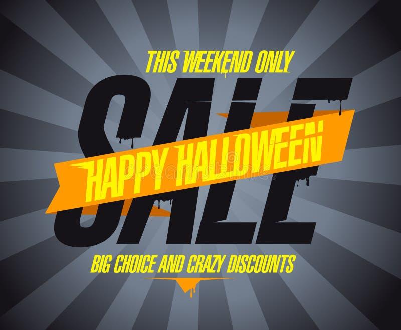 Venta del feliz Halloween, opción grande y descuentos locos ilustración del vector