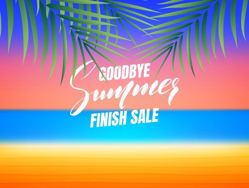Venta del final del verano Adiós bandera de la venta del final del verano Fondo con la playa y las hojas de palma tropicales ilustración del vector