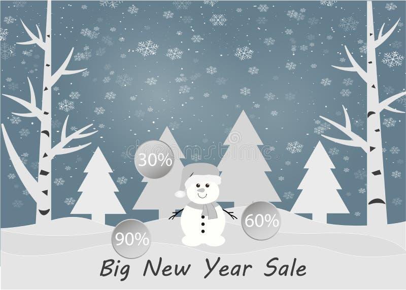 Venta del invierno Feliz Navidad y Feliz Año Nuevo 2019 Ilustración del vector stock de ilustración