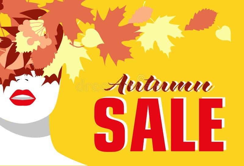 VENTA del otoño bandera Muchacha de la manera Hojas coloreadas Estilo intrépido, mínimo Arte pop OpArt, espacio negativo positivo stock de ilustración